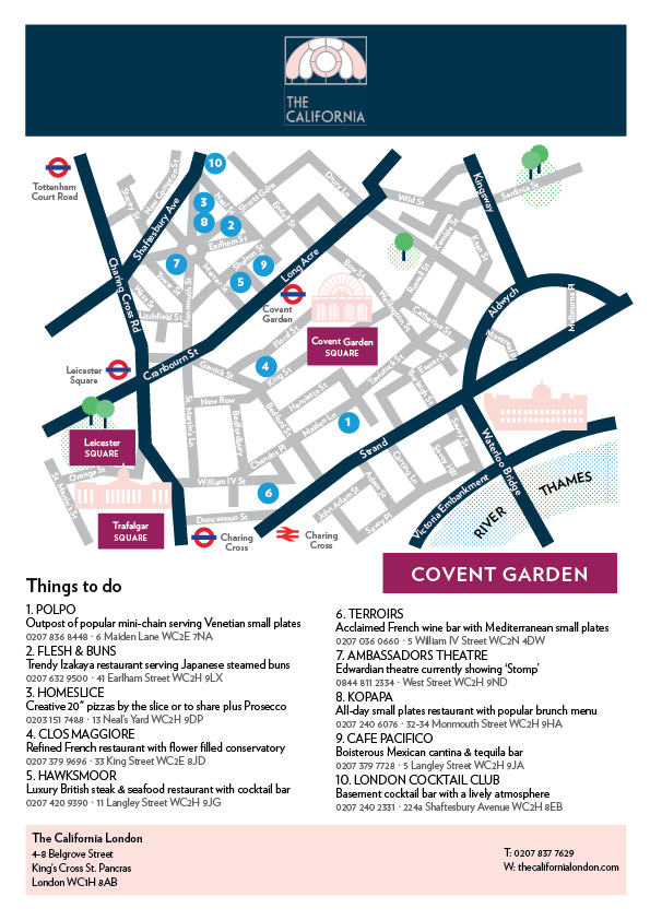 Where to eat in Covent Garden map - The California London