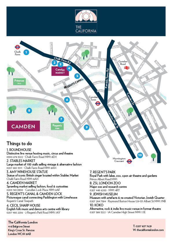King's Cross to Camden things to do Map